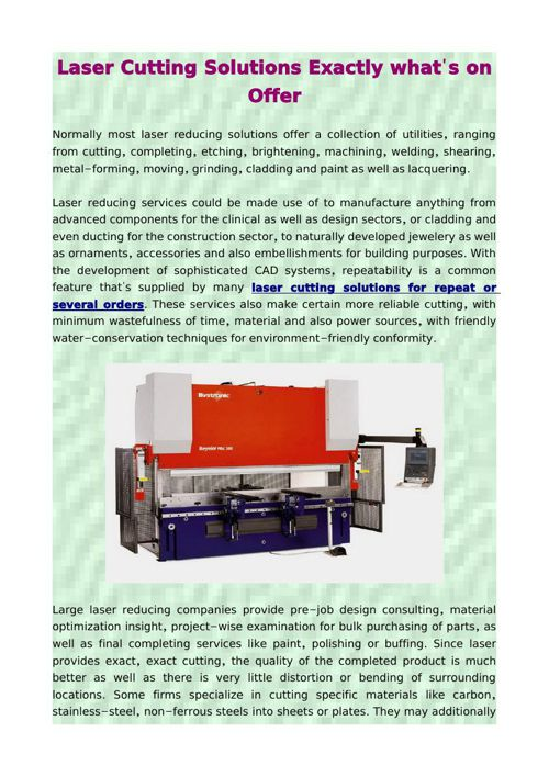 Laser Cutting Solutions Exactly what's on Offer