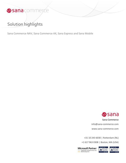 Sana Commerce- Solution highlights (NAV, AX Express and Mobile)