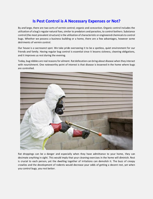 Is Pest Control is A Necessary Expenses or Not