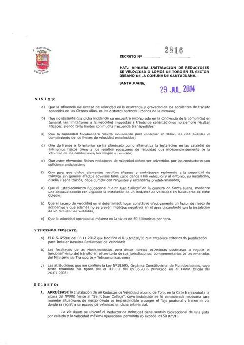 Decreto 2816 - Instalación de Lomos de Toro