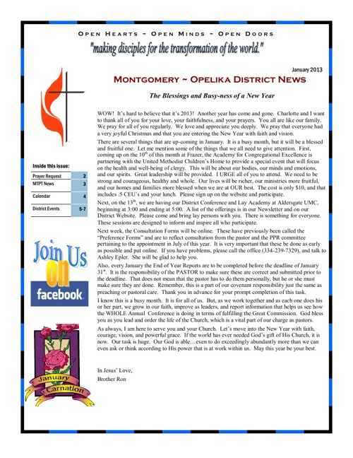 MTOP January 2013 Newsletter