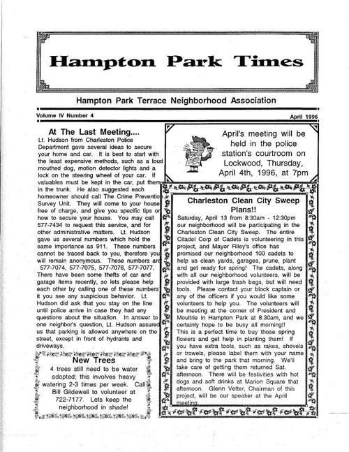 HPT Newsletter April 1996