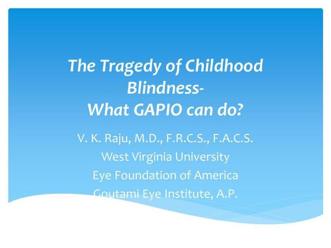 The Tragedy of Childhood Blindness-GAPIO Kolkata