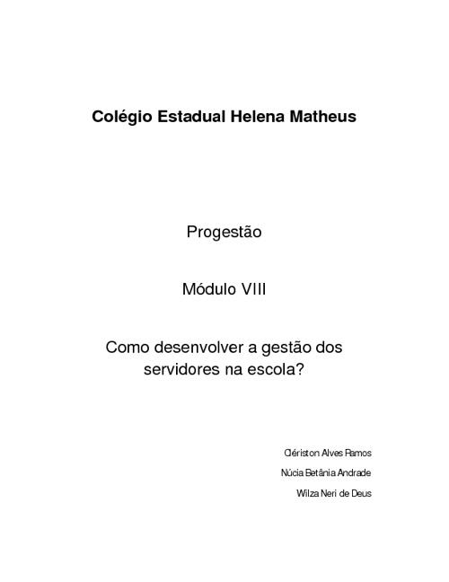 Progestão Helena Matheus -Ativ VIII