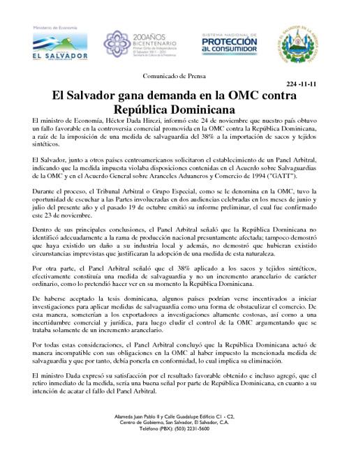 El Salvador gana demanda en la OMC contra República Dominicana
