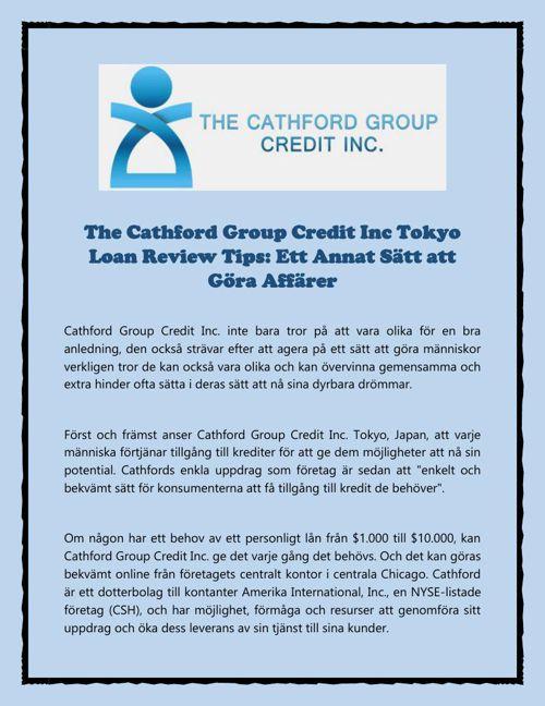 Ett Annat Sätt att Göra Affärer av The Cathford Group Credit Inc