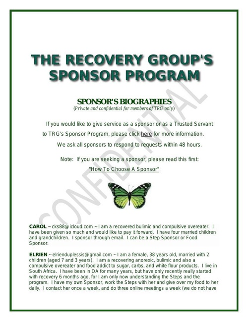The Recovery Group Sponsor Directory