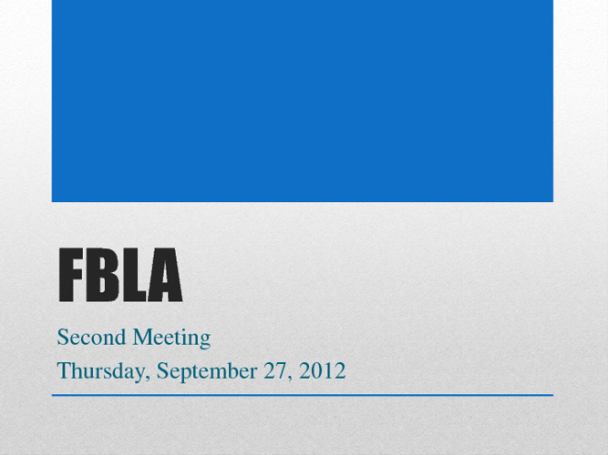 September 27, 2012 FBLA Meeting Agenda