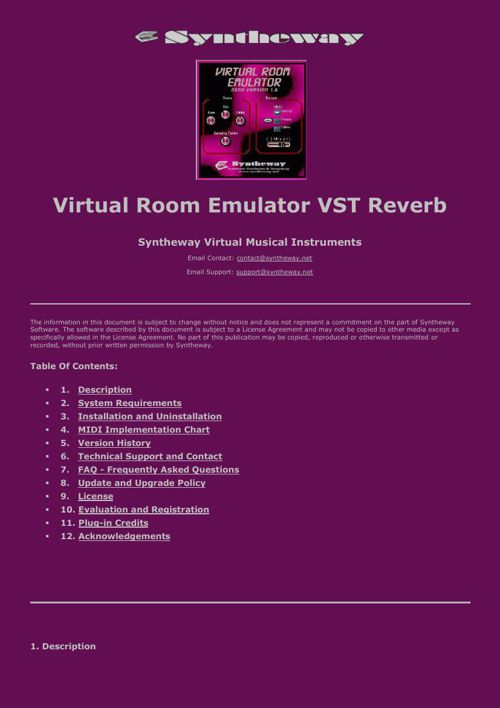 Virtual Room Emulator VST Plugin Reverb by Syntheway