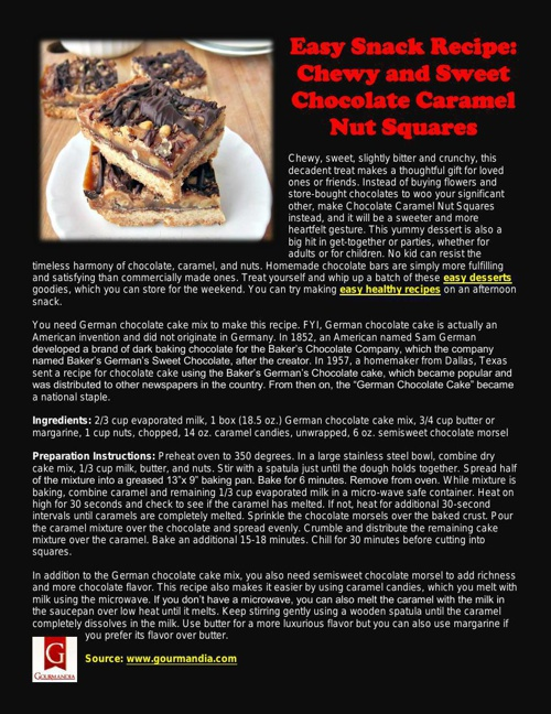 Easy Snack Recipe: Chewy and Sweet Chocolate Caramel Nut Squares