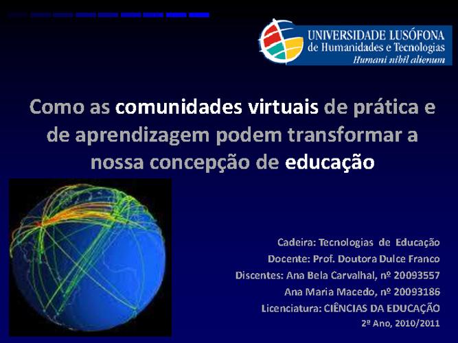 Como as comunidades virtuais de prática e de aprendizagem podem