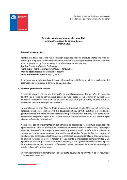 Reporte evaluación informe de cierre PMI Instituto Profesion