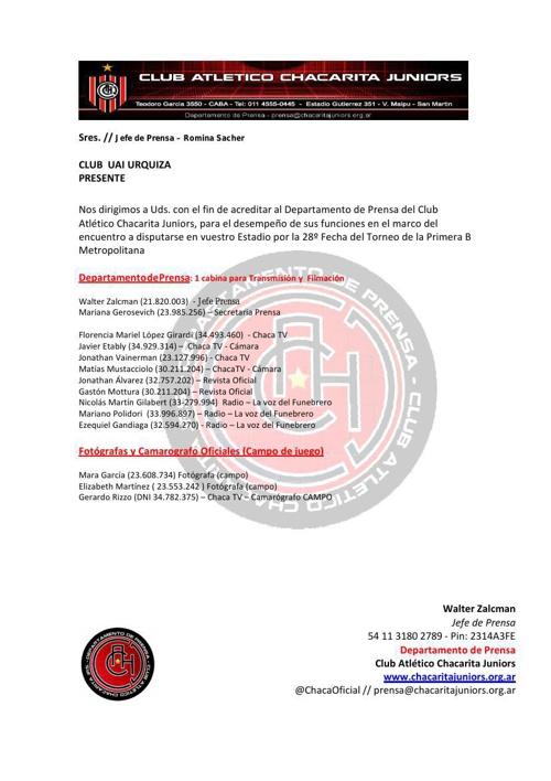 Prensa, Medios, Jugadores y Directivos Chacarita Jrs