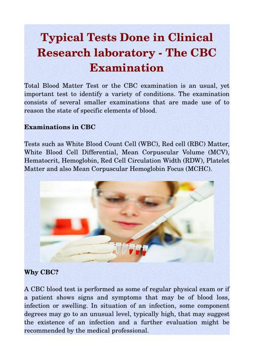 Typical Tests Done in Clinical Research laboratory - The CBC Exa