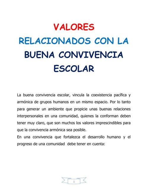 VALORES  RELACIONADOS CON LA BUENA CONVIVENCIA ESCOLAR
