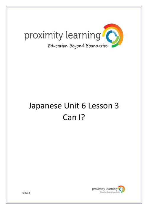 JPN Unit 6 Lesson 3: Can I?