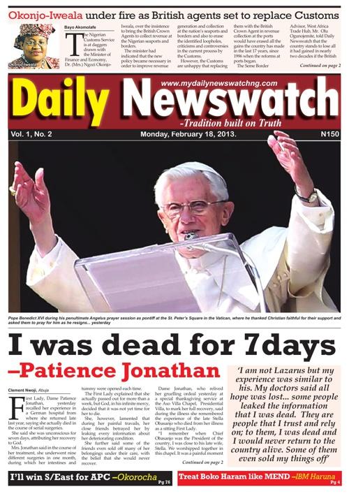 Daily Newswatch, Monday 18-02-2013