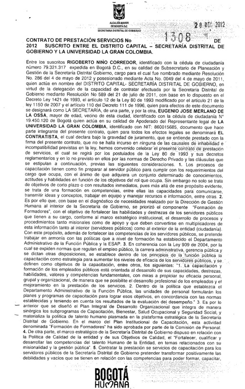 Contrato Secretaría de Gobierno