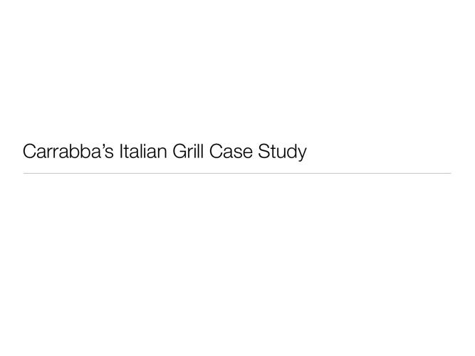 Carrabba's Italian Grill Case Study