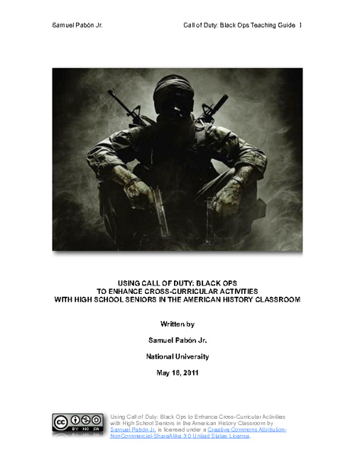 Using Call of Duty: Black Ops to Enhance Cross-Curricular Activi