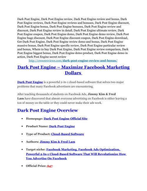 Dark Post Engine review and Exclusive $26,400 Bonus