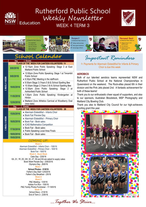 Rutherford Public School Term 3 Week 4 2016 Newsletter