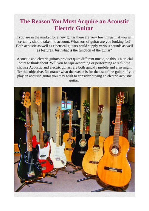 The Reason You Must Acquire an Acoustic Electric Guitar