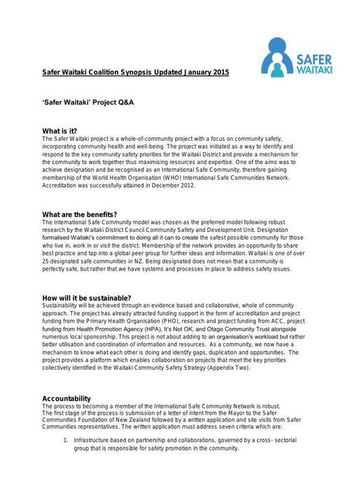 Safer Waitaki Coalition Synopsis
