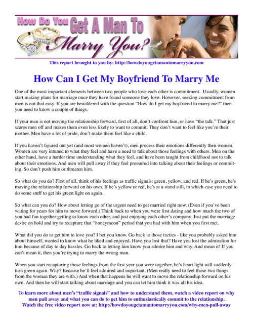 Get A Man To Marry You