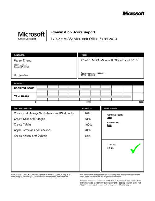 Karen Zheng Excel Certiport Results