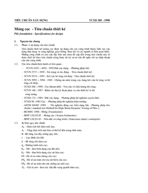 TCXD 205-1998 : Móng Cọc - Tiêu Chuẩn Thiết Kế