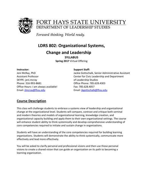 LDRS 802VA Organizational Systems Change and Leadership Syllabus