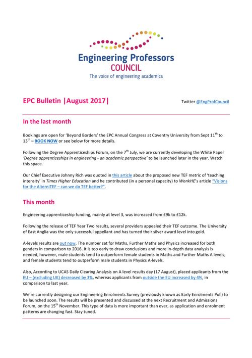 Engineering Professors' Council Bulletin August 2017