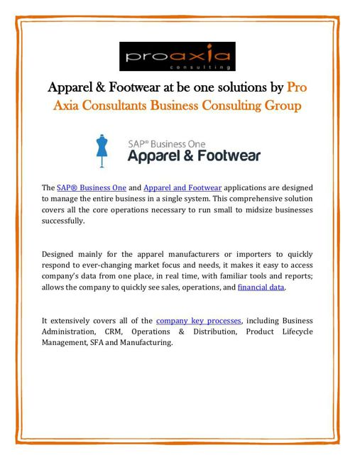 Apparel & Footwear at be one solutions by Pro Axia Consultants B