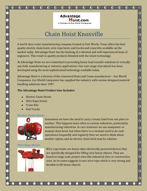 Chain Hoist Knoxville