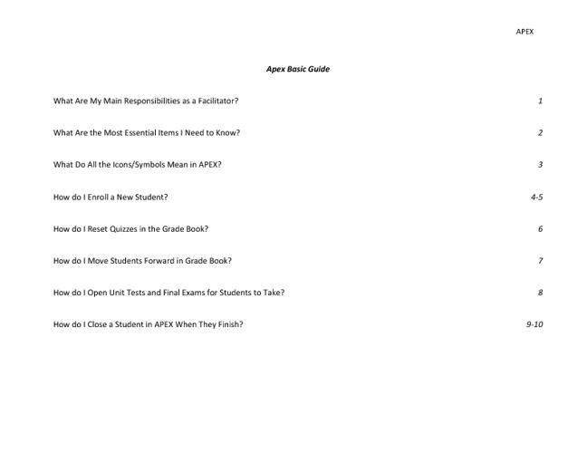 APEX Facilitator Basic Guide
