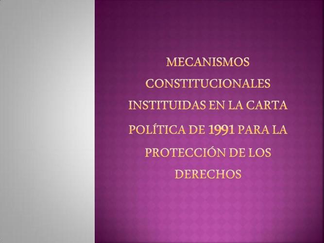 Mecanismos Constitucionales de Proteccion de los Derechos