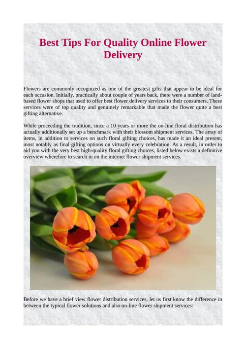 Best Tips For Quality Online Flower Delivery