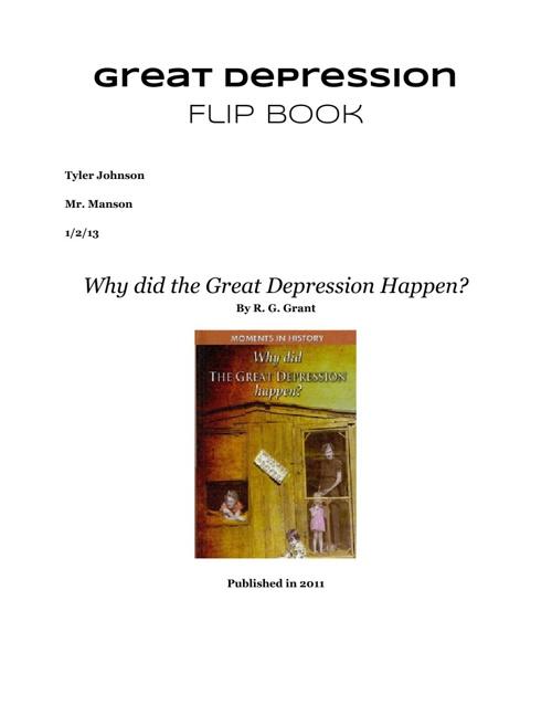 Great Depression Flip Book
