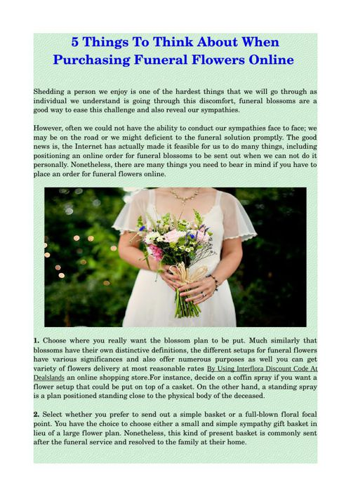 5 Things To Think About When Purchasing Funeral Flowers Online