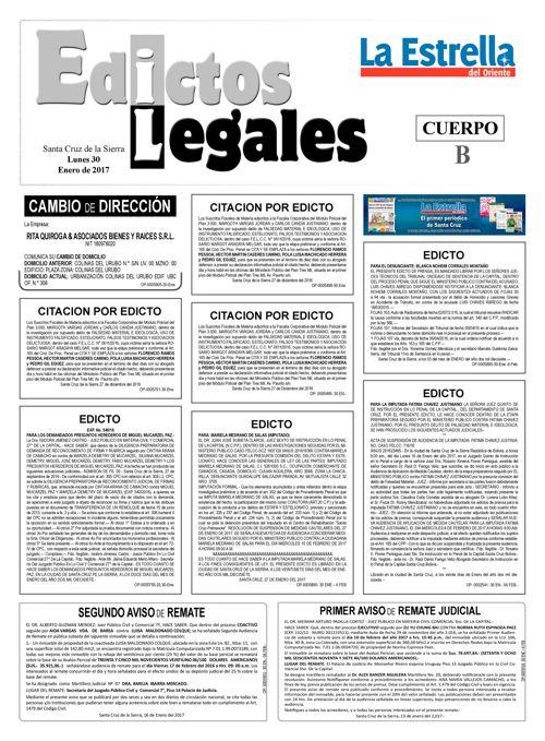 Judiciales 30 lunes - enero 2017