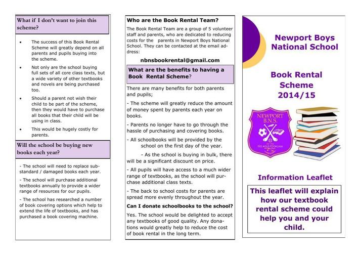 Book Rental Scheme Information Leaflet