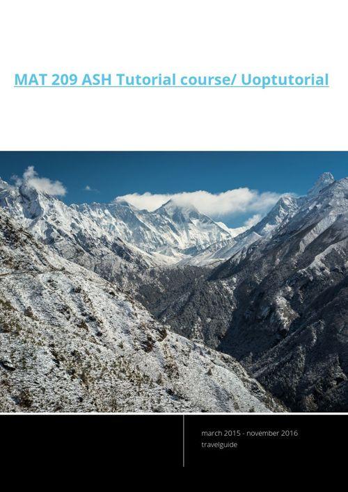 MAT 209 ASH Tutorial course/ Uoptutorial