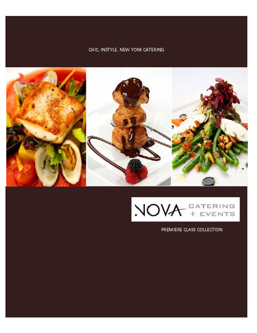 menu premiere class Nova Catering+Events