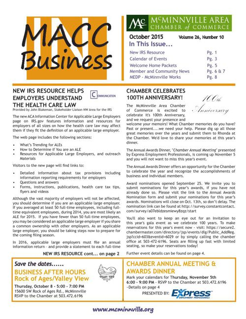 MACC in Business OCTOBER 2015