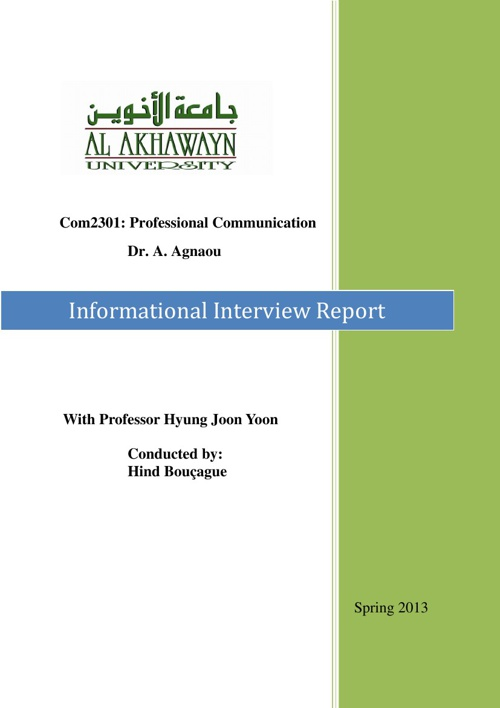 Informational interview with Dr. HJ. Yoon