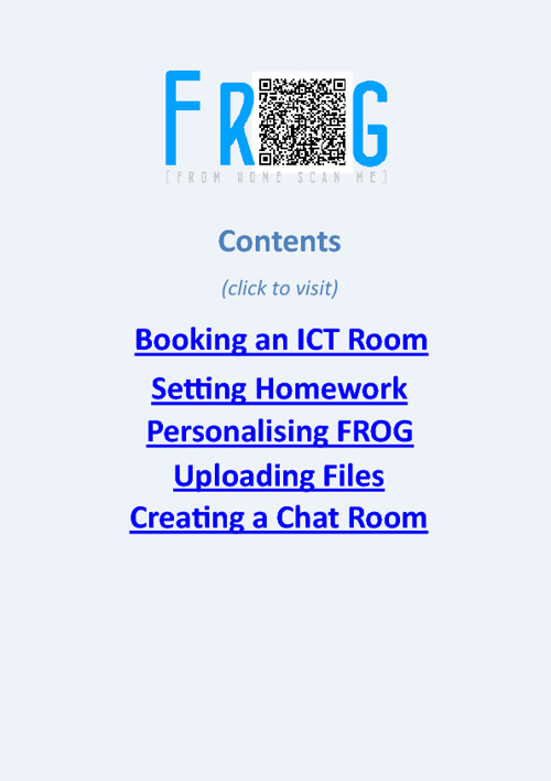 Booking an ICT Room in FROG