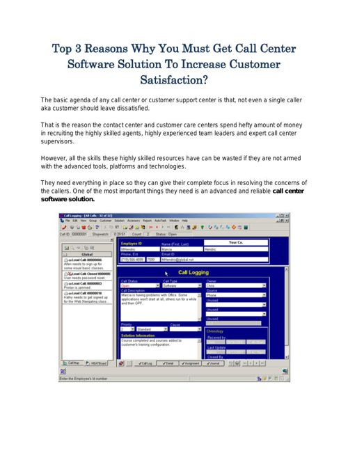 Top 3 Reasons Why You Must Get Call Center Software Solution To