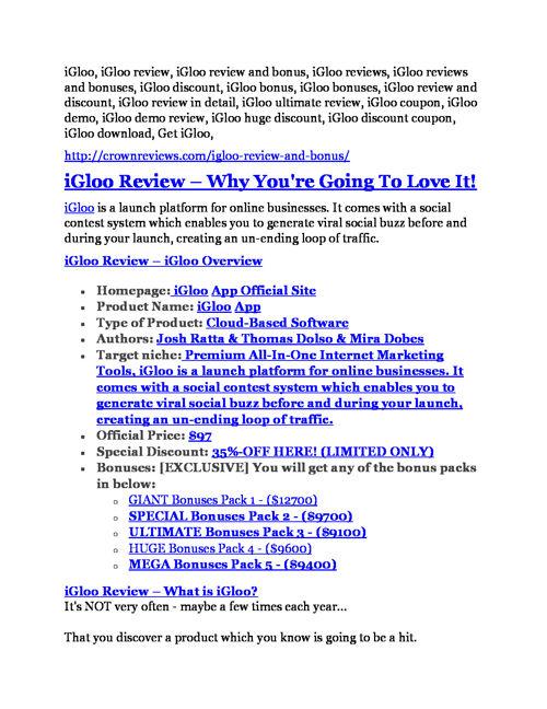 iGloo review and iGloo $11800 Bonus & Discount