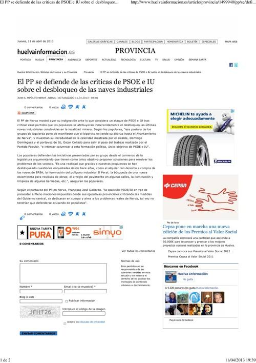 El PP de Nerva se defiende de las criticas de PSOE e IU